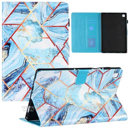 Notesz tok / mappa tok - KÉK / ARANY / FEHÉR MÁRVÁNY MINTÁS - asztali tartó funkciós, oldalra nyíló, mágneses záródás, bankkártyatartó zsebekkel, szilikon belső - SAMSUNG Galaxy Tab A7 10.4 (2020) (SM-T500/SM-T505)