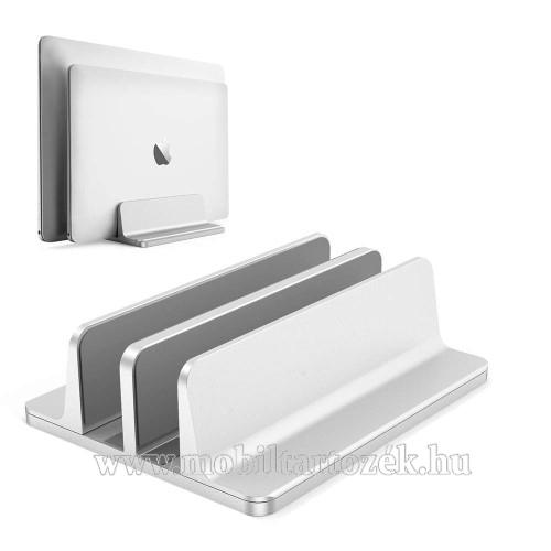 UNIVERZÁLIS asztali telefon, tablet, laptop tartó, alumínium állvány - DUPLA, 14-42mm-ig állítható bölcső, csúszásgátló - EZÜST