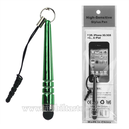 Érintőképernyő ceruza - mini, 3,5 jack csatlakozóba illeszthető, kapacitív kijelzőhöz - GREEN / ZÖLD