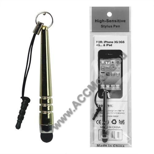 Érintőképernyő ceruza - mini, 3,5 jack csatlakozóba illeszthető, kapacitív kijelzőhöz - GOLD / ARANY