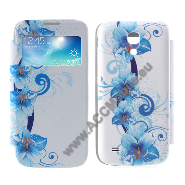 Akkufed�l - oldalra ny�l� flip, h�v�sz�m kijelz�s - VIR�G MINT�S - K�K / FEH�R - SAMSUNG GT-I9190/I9192/I9195 Galaxy S IV. mini