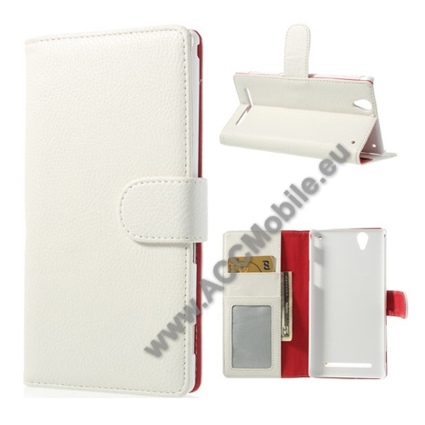 Notesz tok / flip tok - oldalra ny�l�, rejtett m�gneses z�r�d�s, asztali tart� funkci�s, bankk�rtya tart� zseb - FEH�R - SONY Xperia T2 Ultra / SONY Xperia T2 Ultra DUAL