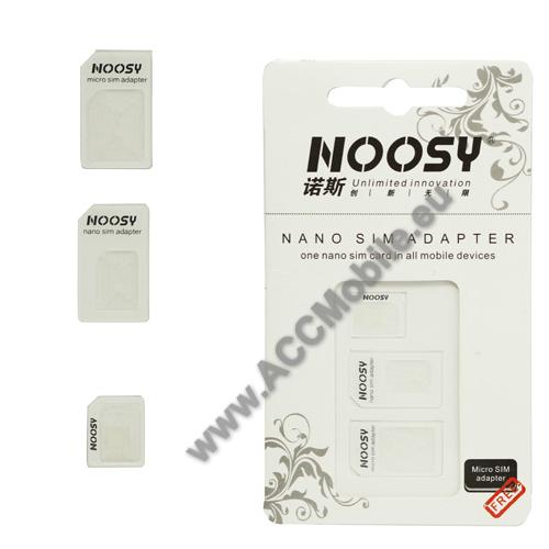 UNIVERZÁLIS SIM adapter - Nano SIM kártyát Micro SIM és normál méretű kártyára alakítja át, SIM tűvel együtt - FEHÉR