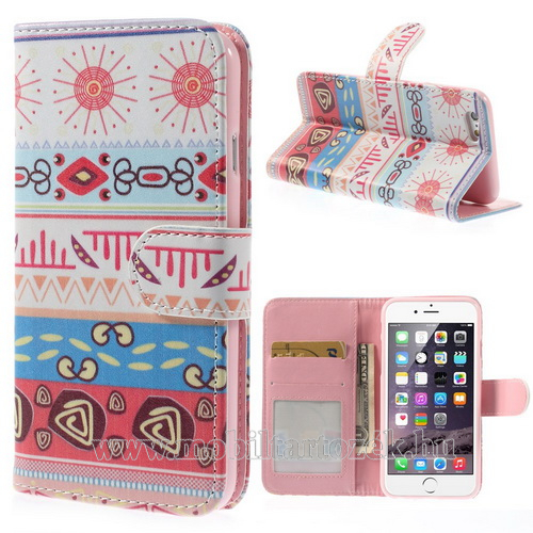 Notesz tok / flip tok - MINTÁS - asztali tartó funkciós, oldalra nyíló, rejtett mágneses záródás, bankkártya tartó zsebekkel, szilikon belsõs - FEHÉR / RÓZSASZÍN - APPLE iPhone 6