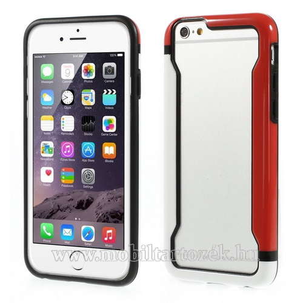 DUO szilikon védő keret - BUMPER - FEHÉR / PIROS - APPLE iPhone 6