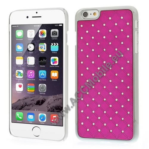 M�anyag v�d� tok / strassz k�ves h�tlap - MAGENTA - APPLE iPhone 6 Plus