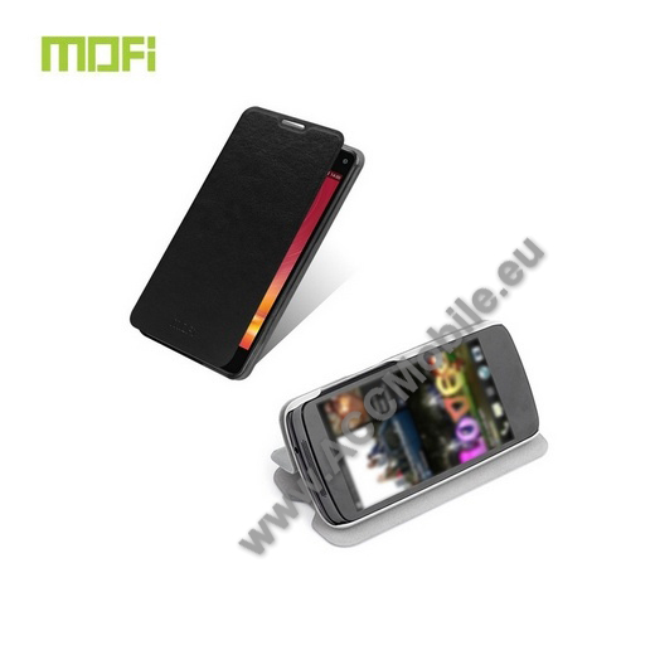 MOFI m�anyag v�d� tok / b�r h�tlap - oldalra ny�l� flip, asztali tart� funkci�s - FEKETE - ZTE Nubia Z5S mini (NX405H)