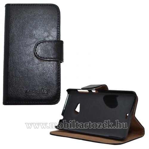 Notesz tok/ flip tok - asztali tartó funkciós, oldalra nyíló, rejtett mágneses záródás, bankkártya tartó zsebekkel - FEKETE - MICROSOFT Lumia 535