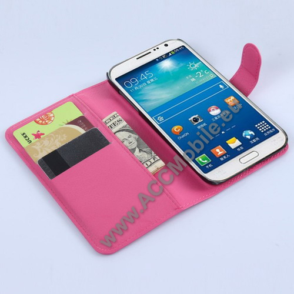 Notesz tok / flip tok - asztali tart� funkci�s, oldalra ny�l�, rejtett m�gneses z�r�d�s, bankk�rtyatart� zseb - MAGENTA - SAMSUNG SM-G7200 Galaxy Grand 3 / SAMSUNG SM-G720N0 Galaxy Grand Max