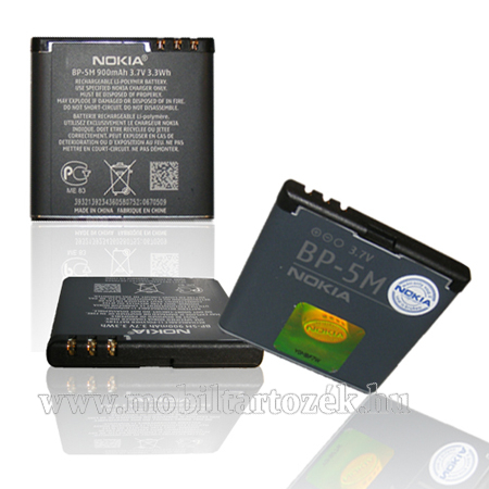 NOKIA akku 900 mAh LI-Polymer - BP-5M - GYÁRI - Csomagolás nélküli