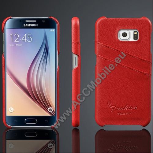 Műanyag védő tok / valódi bőr hátlap - PIROS - bankkártya tartó zsebekkel - SAMSUNG SM-G920 Galaxy S6