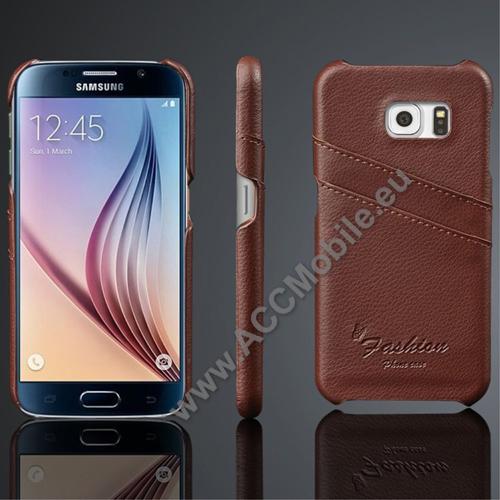 Műanyag védő tok / valódi bőr hátlap - BARNA - bankkártya tartó zsebekkel - SAMSUNG SM-G920 Galaxy S6