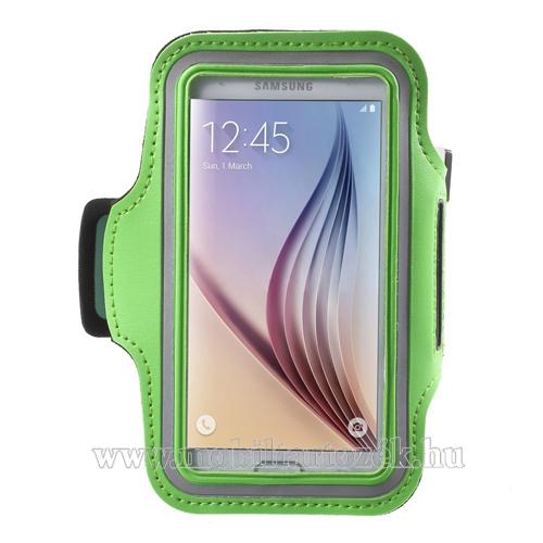 SPORT tok / karpánt - ZÖLD - SAMSUNG SM-G920 Galaxy S6 / SAMSUNG SM-G925F Galaxy S6 Edge - 145 x 75mm