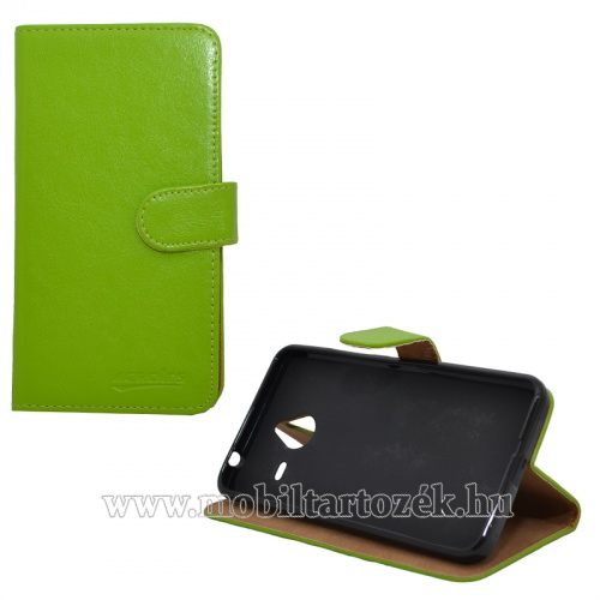 WALLET notesz tok / flip tok - asztali tartó funkciós, oldalra nyíló, rejtett mágneses záródás - ZÖLD - MICROSOFT Lumia 640 XL / Lumia 640 XL Dual SIM / Lumia 640 XL LTE / Lumia 640 XL LTE Dual SIM
