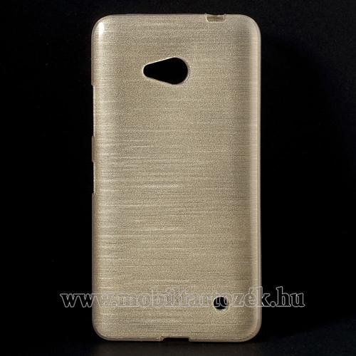 Szilikon védő tok / hátlap - szálcsiszolt mintázat - ARANY - MICROSOFT Lumia 640 Dual SIM / Lumia 640 LTE / Lumia 640 LTE Dual SIM