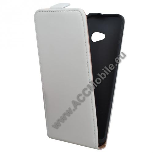 Flip tok - lefelé nyíló, rejtett mágneses záródás - FEHÉR - MICROSOFT Lumia 640 Dual SIM / Lumia 640 LTE / Lumia 640 LTE Dual SIM