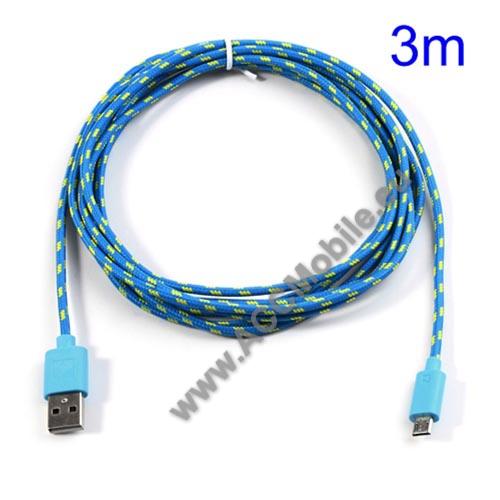 HUAWEI P8 liteAdatátviteli kábel / USB töltő - microUSB 2.0, 3m hosszú - KÉK