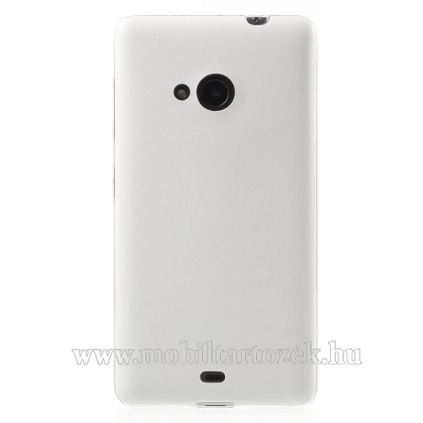 Szilikon védő tok / hátlap - ULTRAVÉKONY!, 0,6mm, bőrhatású! - FEHÉR - MICROSOFT Lumia 535