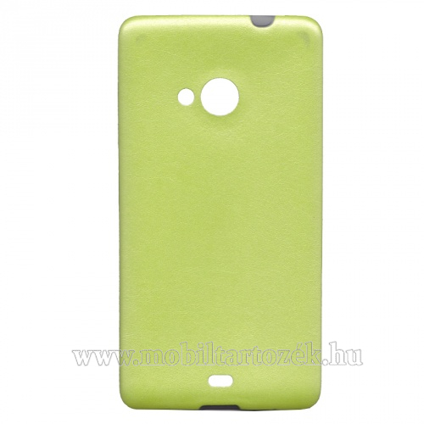 Szilikon védő tok / hátlap - ULTRAVÉKONY!, 0,6mm, bőrhatású! - ZÖLD - MICROSOFT Lumia 535