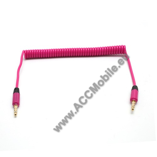 HUAWEI MediaPad T5 10Audió kábel 2 x 3.5 mm, 4 pólusú jack csatlakozó, 0.35m, spirálkábel, AUX - RÓZSASZÍN