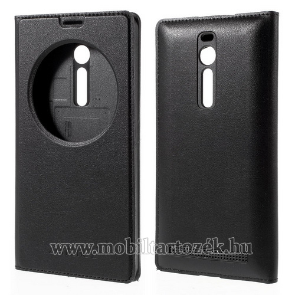 Akkufedél - bőr hátlap, oldalra nyíló S-View Cover flip, hívószám kijelzés - FEKETE - ASUS Zenfone 2 (ZE550ML / ZE551ML)