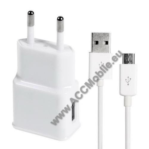 HUAWEI P8Hálózati töltő - 5V/1000mAh, USB aljzat, microUSB 2.0 adatátviteli / töltő kábellel - FEHÉR