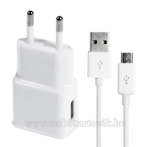 Hálózati töltő - 5V/2A, USB aljzat, microUSB 2.0 adatátviteli / töltő kábellel - FEHÉR