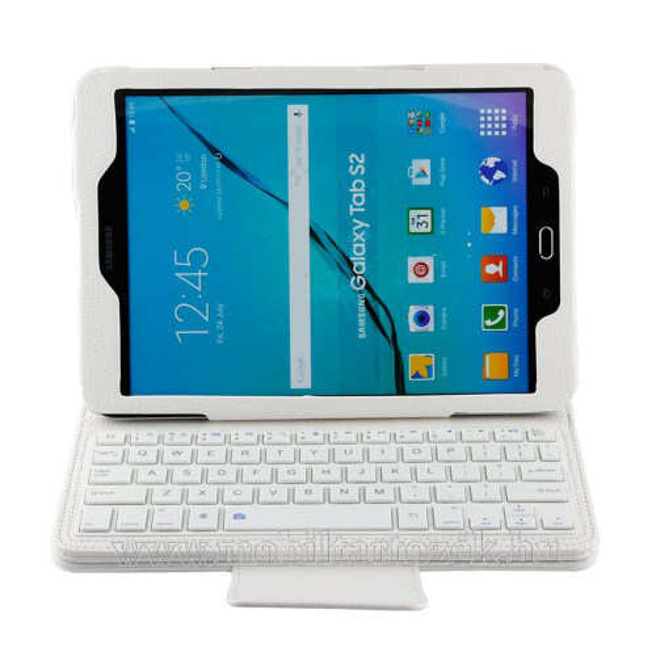 Notesz / mappa tok - FEHÉR - álló, bőr, asztali tartó funkciós, BLUETOOTH billentyűzet, QWERTY, angol nyelvű! - SAMSUNG SM-T810 / SM-T815 Galaxy Tab S2 9.7