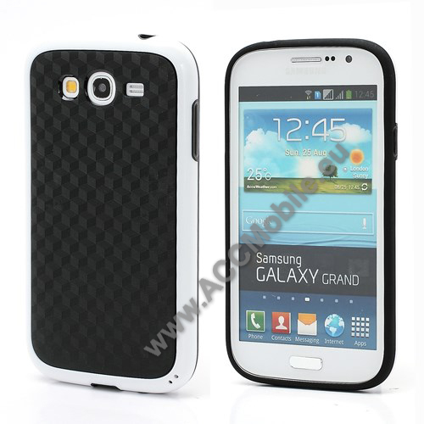 Mûanyag védõ tok / hátlap - 3D KOCKA MINTA, szilikon szegély - FEHÉR / FEKETE - SAMSUNG GT-I9080 Galaxy Grand / GT-I9082 Galaxy Grand Duos / GT-I9060 Galaxy Grand NEO / GT-I9062 Galaxy Grand NEO DUOS