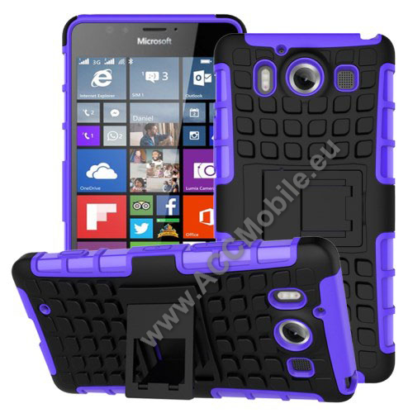 OTT! műanyag védő tok / hátlap - LILA - 3D KOCKA MINTÁS - szilikon betétes, asztali tartó funkciós, ERŐS VÉDELEM! - MICROSOFT Lumia 950 / MICROSOFT Lumia 950 Dual SIM