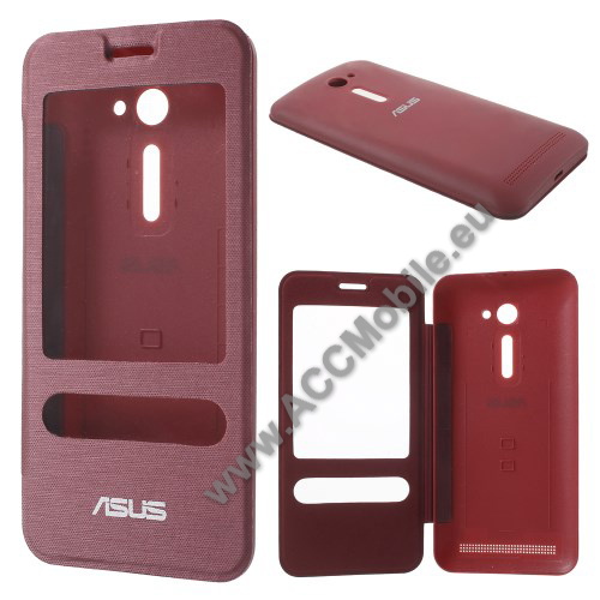 Akkufedél - PIROS - oldalra nyíló S-View Cover flip, hívószám kijelzés és hívás felvétel - ASUS Zenfone 2 (ZE500CL)