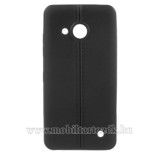 Szilikon védő tok / hátlap - bőrhatású, varrás mintás - FEKETE - MICROSOFT Lumia 550