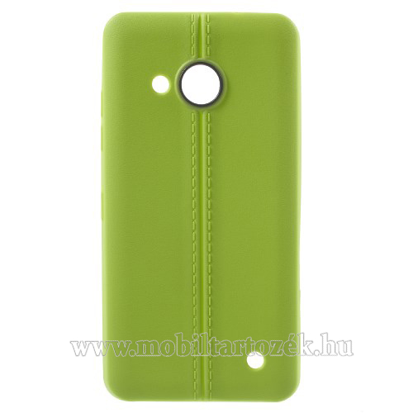 Szilikon védő tok / hátlap - bőrhatású, varrás mintás - ZÖLD - MICROSOFT Lumia 550