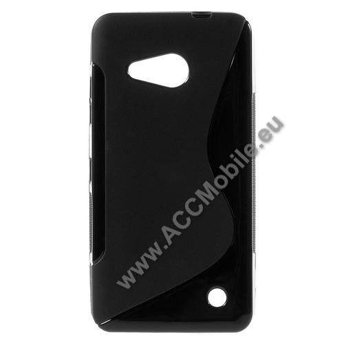 Szilikon védő tok / hátlap - FÉNYES / MATT - FEKETE - MICROSOFT Lumia 550