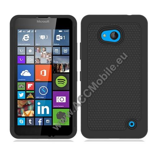 OTT! PROTECTOR műanyag védő tok / hátlap - FEKETE - csúszásgátlós hátlap, szilikon betétes, ERŐS VÉDELEM! - MICROSOFT Lumia 640 Dual SIM / Lumia 640 LTE / Lumia 640 LTE Dual SIM