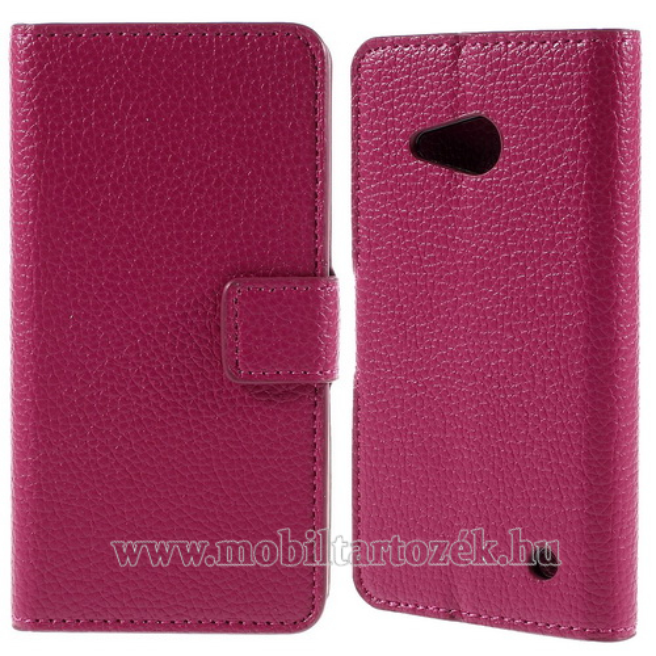 Notesz tok / flip tok - RÓZSASZÍN - asztali tartó funkciós, oldalra nyíló, rejtett mágneses záródás, bankkártyatartó zseb - MICROSOFT Lumia 550
