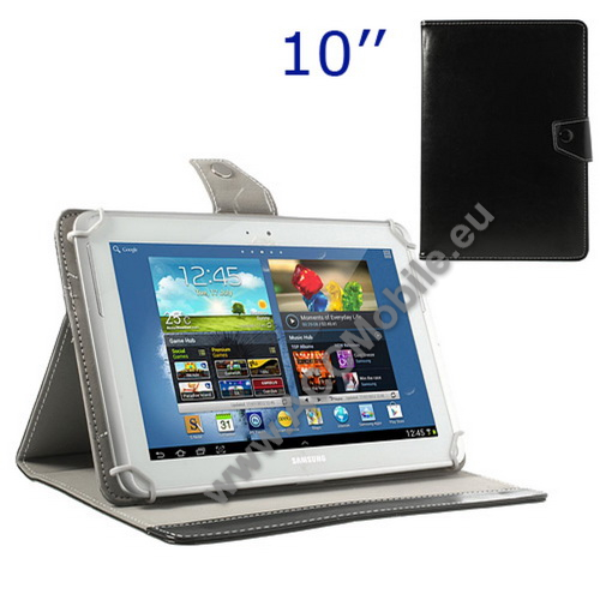 UNIVERZÁLIS notesz / mappa tablet PC tok - FEKETE - álló, bőr, mágneses, asztali tartó funkciós, 10