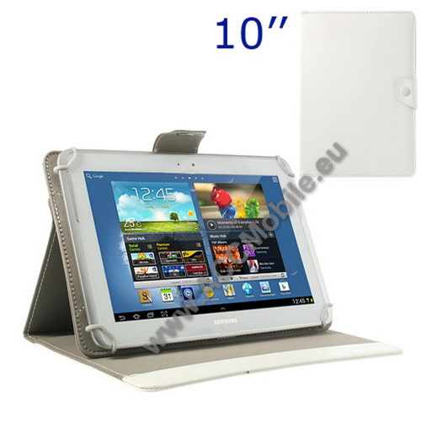 UNIVERZÁLIS notesz / mappa tablet PC tok - FEHÉR - álló, bőr, mágneses, asztali tartó funkciós, 10