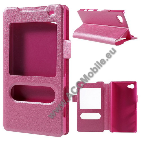 M�anyag v�d� tok / h�tlap - R�ZSASZ�N - oldalra ny�l� s-view cover flip, asztali tart� funkci�, m�gneses z�r�d�s, h�v�sfelv�tel - SONY Xperia Z5 Compact
