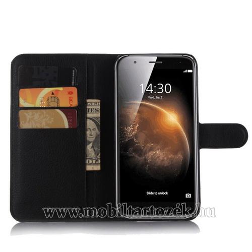 WALLET notesz tok / flip tok - FEKETE - asztali tartó funkciós, oldalra nyíló, rejtett mágneses záródás, bankkártyatartó zseb - HUAWEI G8 / HUAWEI G7 Plus