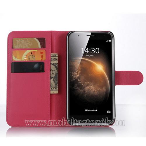 WALLET notesz tok / flip tok - MAGENTA - asztali tartó funkciós, oldalra nyíló, rejtett mágneses záródás, bankkártyatartó zseb - HUAWEI G8 / HUAWEI G7 Plus