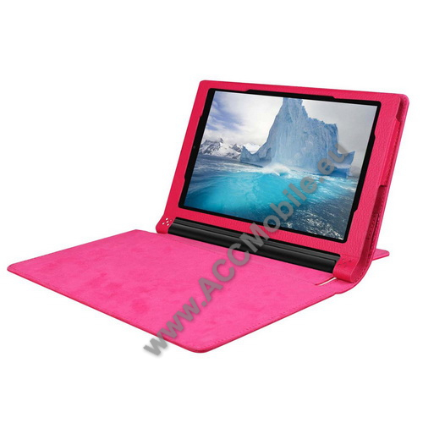 Notesz / mappa tok - RÓZSASZÍN - oldalra nyíló flip cover, asztali tartó funkciós, rejtett mágneses, bakkártya tartó zseb - Lenovo Yoga Tab 3 8.0