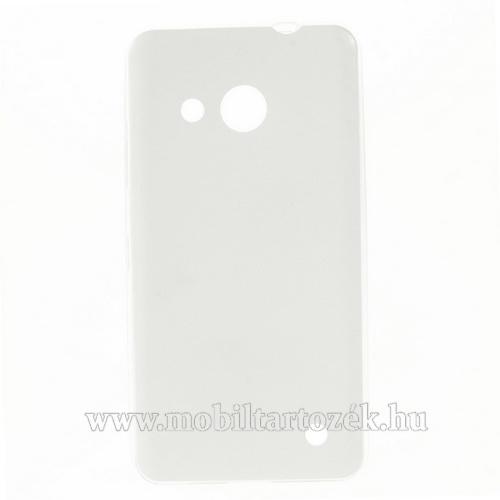 Szilikon védő tok / hátlap - ULTRAVÉKONY!, 0,6mm, bőrhatású! - FEHÉR - MICROSOFT Lumia 550