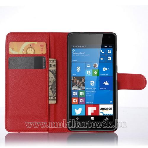 WALLET notesz tok / flip tok - PIROS - asztali tartó funkciós, oldalra nyíló, rejtett mágneses záródás, bankkártyatartó zseb - MICROSOFT Lumia 650
