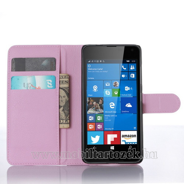 WALLET notesz tok / flip tok - RÓZSASZÍN - asztali tartó funkciós, oldalra nyíló, rejtett mágneses záródás, bankkártyatartó zseb - MICROSOFT Lumia 650