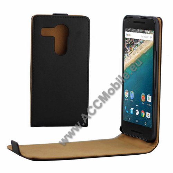 SLIM Flip tok - lefelé nyíló, rejtett mágneses záródás - FEKETE - LG Nexus 5X