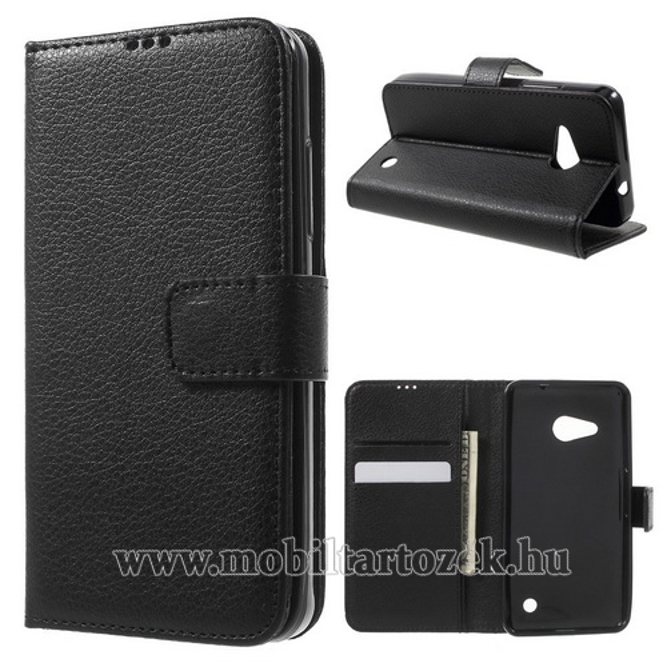 FLEXI notesz tok / flip tok - FEKETE - asztali tartó funkciós, oldalra nyíló, rejtett mágneses záródás, bankkártya tartó, szilikon belső - MICROSOFT Lumia 550