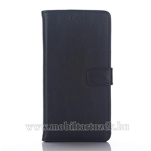 Notesz / flip tok - FEKETE - oldalra nyíló, rejtett mágneses, álló, asztali tartó funkció, bankkártya tartó - SAMSUNG SM-A510F Galaxy A5 (2016)