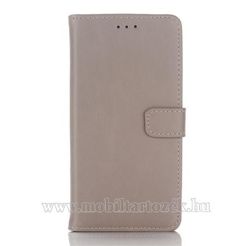 Notesz / flip tok - SZÜRKE - oldalra nyíló, rejtett mágneses, álló, asztali tartó funkció, bankkártya tartó - SAMSUNG SM-A510F Galaxy A5 (2016)