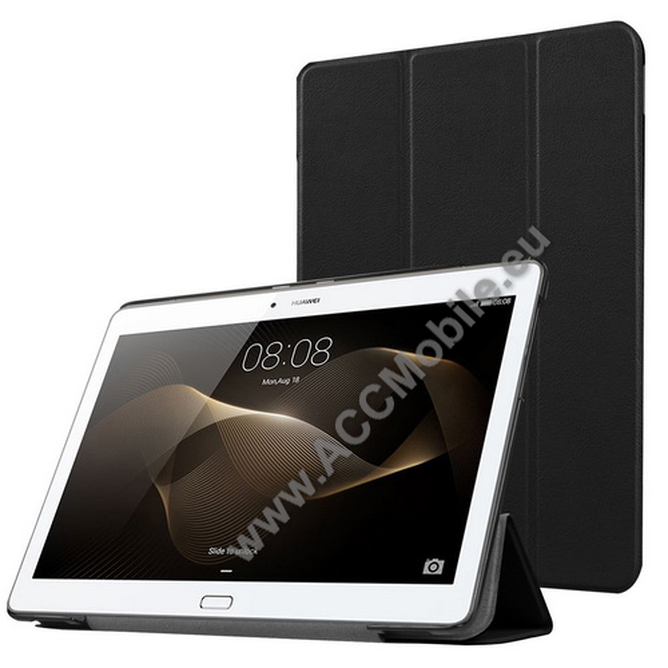 Műanyag védő tok / bőr hátlap - oldalra nyíló flip cover, TRIFOLD asztali tartó funkció - FEKETE - HUAWEI MediaPad M2 10.0